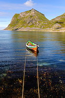 Norway, Lofoten. Haukland is located south of Uttakleiv and do also have some fantastic beaches. Traditional Nordlandsbåt, a small boat used for fishing.