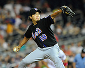 New York Mets pitcher Ryota Igarashi (18) pitches against the Washington Nationals at Nationals Park in Washington, D.C. on Friday, July 29, 2011.  The Mets won the game 8 - 5..Credit: Ron Sachs / CNP.(RESTRICTION: NO New York or New Jersey Newspapers or newspapers within a 75 mile radius of New York City)