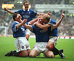 Jorg Albertz mobbed after scoring the opener against Celtic with a thunderbolt