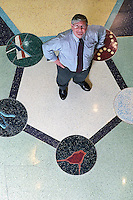 Dave Nelson, professor of biochemistry and director of the Center for Biology Education, stands in the center of a depiction of a molecule on the terrazo floor of the Biochemistry building atrium.<br /> <br /> Client: University of Wisconsin-Madison<br /> &copy; UW-Madison University Communications 608-262-0067<br /> Photo by: Michael Forster Rothbart<br /> Date:  12/02     File#:   0212-206c-29.