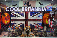 Cool Britannia store, selection of British souvenirs, including clothing and accesrories, Piccadilly Circus, London, UK. Picture by Manuel Cohen