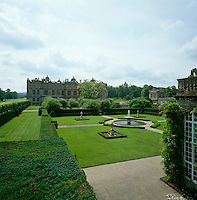 View across the gardens of Longleat looking from the orangery towards the house