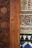 South Gallery (Detail), Courtyard of the Myrtles, 14th century under the reign of Yusuf I, Comares Palace, Nasrid Palaces, The Alhambra, Granada, Andalusia, Spain. Picture by Manuel Cohen