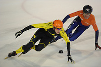 SHORTTRACK: AMSTERDAM: 04-01-2014, Jaap Edenbaan, NK Shorttrack, Prominenten Relay, Cees Juffermans, Mark Velzeboer, ©foto Martin de Jong