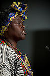 Wangari Maathai speaks the during the opening day of the COP in Copenhagen.  (IMAGES free Editorial Web usage for Fresh Air Participants during COP 15. Credit: Robert vanWaarden
