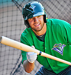 29 June 2012: Vermont Lake Monsters' infielder John Wooten works on bunting practice drills prior to a game against the Lowell Spinners at Centennial Field in Burlington, Vermont. Mandatory Credit: Ed Wolfstein Photo