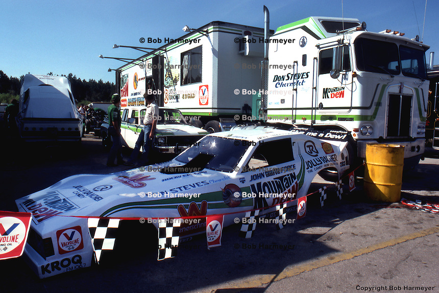 GAINESVILLE, FL - MARCH 14: The pit area of Funny Car driver John Force at the NHRA Gatornationals on March 14, 1982, at Gainesville Raceway near Gainesville, Florida.