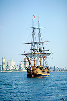 Brig, Tall Ship, Anchored, Long Beach, Harbor,  CA, USA