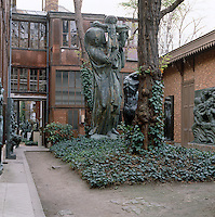 The courtyard of the Musee Bourdelle in Montparnasse is filled with examples of Antoine Bourdelle's monumental figurative sculptures