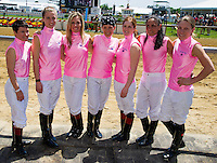 The jockeys for the Female Jockey Challenge on Black-Eyed Susan Day at Pimlico Race Course in Baltimore, Maryland on May 18, 2012.