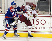 Michael Colantone (UML - 24), Quinn Smith (BC - 27) - The Boston College Eagles defeated the visiting University of Massachusetts Lowell River Hawks 6-3 on Sunday, October 28, 2012, at Kelley Rink in Conte Forum in Chestnut Hill, Massachusetts.
