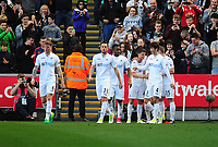 Swansea City's Tom Carroll celebrates scoring his sides second goal with team-mates<br /> <br /> Photographer Kevin Barnes/CameraSport<br /> <br /> The Premier League - Swansea City v Stoke City - Saturday 22nd April 2017 - Liberty Stadium - Swansea<br /> <br /> World Copyright &copy; 2017 CameraSport. All rights reserved. 43 Linden Ave. Countesthorpe. Leicester. England. LE8 5PG - Tel: +44 (0) 116 277 4147 - admin@camerasport.com - www.camerasport.com