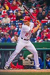7 April 2016: Washington Nationals infielder Danny Espinosa at bat during the Nationals' Home Opening Game against the Miami Marlins at Nationals Park in Washington, DC. The Marlins defeated the Nationals 6-4 in their first meeting of the 2016 MLB season. Mandatory Credit: Ed Wolfstein Photo *** RAW (NEF) Image File Available ***