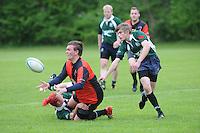 RUGBY: GORREDIJK: Sportpark Kortezwaag, 26-05-2013, Friesland Cup, Drachtster Rugbyclub - RC De Wrotters (groen) rechts voor Suzan Zijlstra tussen de mannen, ©foto Martin de Jong