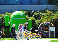 Sept. 6, 2011 - Mountain View, California - U.S. - A woman gestures in front of giant sculptures at the Google world headquarters in Mountain View, California Monday September 5, 2011.  (Credit Image: Alan Greth/ZUMAPress.com).