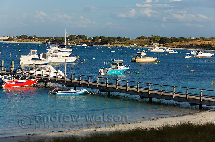 Boats moored at Thomson Bay - the main settlement on Rottnest Island, Western Australia, AUSTRALIA.