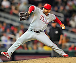 29 September 2010: Philadelphia Phillies' pitcher J.C. Romero on the mound against the Washington Nationals at Nationals Park in Washington, DC. The Phillies defeated the Nationals 7-1 to take the rubber game of their 3-game series. Mandatory Credit: Ed Wolfstein Photo