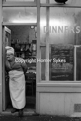 Brick Lane cafe owner. East London England. 1974