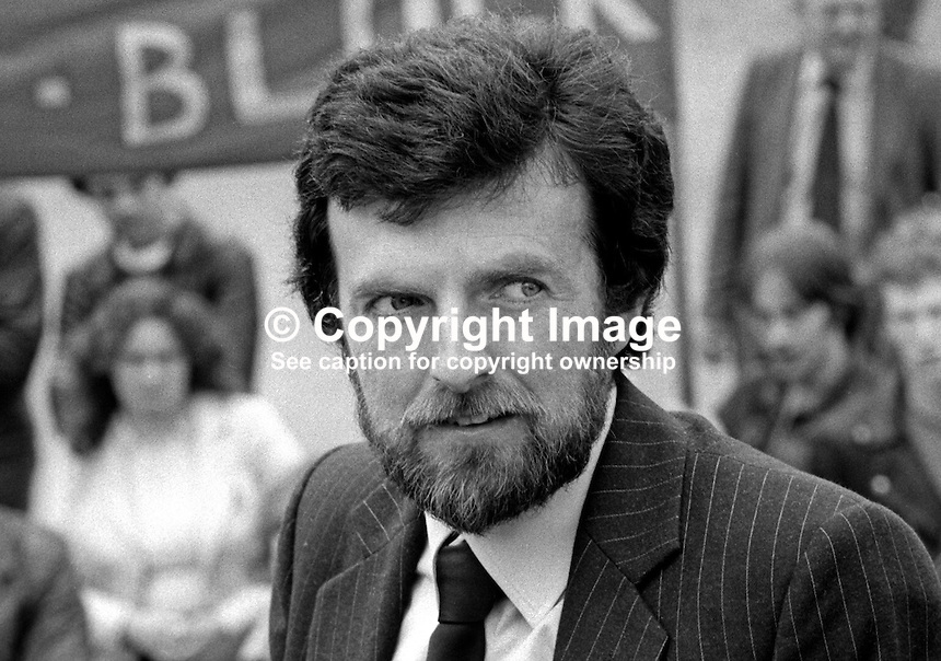Owen Carron, election agent, for Bobby Sands, leader, Provisional IRA Anti H-Blocks Hunger Strike. Photo taken at count for Fermanagh &amp; South Tyrone by-election, 9 April, where Sands topped the poll. However Sands died, still on hunger strike, a few weeks later on 5th May 1981. 198104100070S8.<br /> <br /> Copyright Image from Victor Patterson,<br /> 54 Dorchester Park, Belfast, UK, BT9 6RJ<br /> <br /> t1: +44 28 90661296<br /> t2: +44 28 90022446<br /> m: +44 7802 353836<br /> <br /> e1: victorpatterson@me.com<br /> e2: victorpatterson@gmail.com<br /> <br /> For my Terms and Conditions of Use go to<br /> www.victorpatterson.com