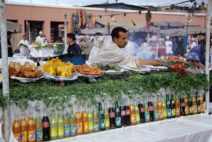 Marrakesh, Morocco - Food Vendor, Place Jemaa El-Fna.