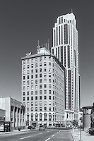 Part of the skyline including Trump Plaza New Rochelle and the Kaufman building in New Rochelle, New York.