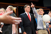 TAMPA, FL - August 30, 2012 - Presidential nominee Mitt Romney after his remarks on the final night of the 2012 Republican National Convention.