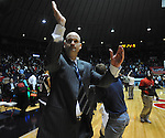 Mississippi head basketball coach Andy Kennedy cheers towards the student section following the game against Mississippi State at the C.M. &quot;Tad&quot; Smith Coliseum in Oxford, Miss. on Wednesday, January 18, 2012. Mississippi won 75-68. (AP Photo/Oxford Eagle, Bruce Newman).