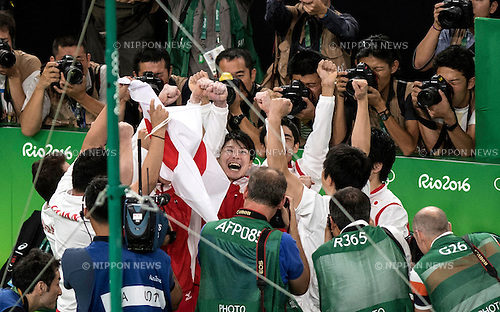 Kohei Uchimura (JPN),<br /> AUGUST 8, 2016 - Artistic Gymnastics :<br /> Kohei Uchimura of Japan celebrates with his teammates after winning the gold medal in the Men's Team Final at Rio Olympic Arena during the Rio 2016 Olympic Games in Rio de Janeiro, Brazil. (Photo by Enrico Calderoni/AFLO SPORT)