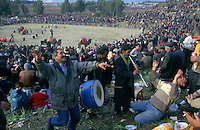 Selcuk, Turkey, 21/01/01..The traditional sport of camel wrestling is popular throughout western Turkey in the winter months. The largest event is the annual festival held in Selcuk on the third weekend of January: up to 20,000 people attend. Travelling musicians entertain a section of the crowd.