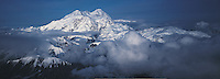 Alaska. Mount McKinley, tallest mountain in the United States (20,320 feet), in Denali National Park and Preserve, established in 1917, aerial