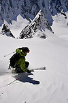 Descending from the Col du Tour Noir on the Amethyst Glacier, Chamonix, France.