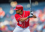 23 July 2016: Washington Nationals outfielder Ben Revere at bat against the San Diego Padres at Nationals Park in Washington, DC. The Nationals defeated the Padres 3-2 on a Stephen Drew pinch-hit, walk-off triple in the bottom of the 9th inning to tie their series at one game apiece. Mandatory Credit: Ed Wolfstein Photo *** RAW (NEF) Image File Available ***