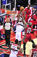 Chris Singleton is fouled hard while going for a layup. Washington Wizards defeated the Miami Heat 105-101 at the Verizon Center in Washington, D.C. on Tuesday, December 4, 2012.   Alan P. Santos/DC Sports Box
