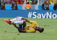 Brazil's Neymar is felled