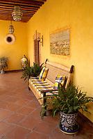 Passageway and sitting area in the Posada de las Minas, a luxury boutique hotel in Mineral de Pozos, Guanajuato, Mexico
