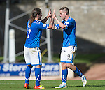 St Johnstone v Ross County...17.08.13 SPFL<br /> Stevie May celebrates with his fellow striker Steven MacLean<br /> Picture by Graeme Hart.<br /> Copyright Perthshire Picture Agency<br /> Tel: 01738 623350  Mobile: 07990 594431