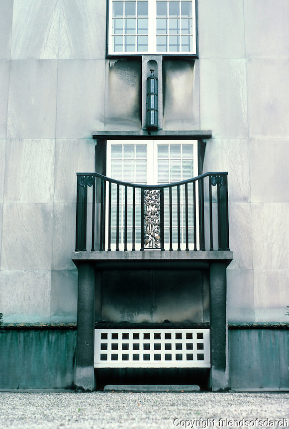 Josef Hoffmann: Palais Stoclet, Brussels. Scultural detail. Photo '87.