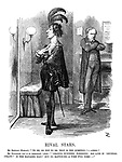 """Rival Stars. Mr. Bendizzy (Hamlet). """"'To be, or not to be, that is the question:' - ahem!"""" Mr. Gladstone (out of an engagement). [Aside] """"'Leading business,' forsooth! His line is 'general utility!' Is the manager mad? But no matter-r-r - a time will come-"""""""