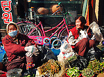 Old women sell their vegetables in a market in Gyeongju, South Korea.