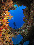Orchid Island, Taiwan -- Inside the Ba Dai ship wreck.<br /> <br /> This shot was taken from inside the wreck looking out.