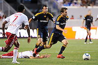 Mike Magee (18) of the Los Angeles Galaxy plays the ball. The Los Angeles Galaxy defeated the New York Red Bulls 1-0 during a Major League Soccer (MLS) match at Red Bull Arena in Harrison, NJ, on August 14, 2010.