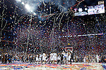 2011 APR 04:  Connecticut players celebrate as the final buzzer sounds following the 2011 NCAA Division I Men's Final Four Championship game held in Reliant Stadium in Houston, TX. UConn went on to defeat Butler 53-41 to claim the championship title.  Rich Clarkson/NCAA Photos
