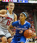 Freshman point guard Janee Thompson drives past Louisville's defense. in Louisville, Ky., on Sunday, December, 2, 2012. Photo by James Holt | Staff
