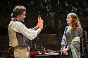 London, UK. 21.11.2013.  LIZZIE SIDDAL, a new play by Jeremy Green, opens at the Arcola Theatre. Picture shows: Tom Bateman (Dante Gabriel Rosetti) and Emma West (Lizzie Siddal). Photograph © Jane Hobson.