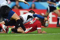 Jeff Hassler of Canada reaches for the try-line. Rugby World Cup Pool D match between Canada and Romania on October 6, 2015 at Leicester City Stadium in Leicester, England. Photo by: Patrick Khachfe / Onside Images