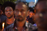 Eritrean migrants in Tel Aviv, Israel, during a memorial ceremony for Haftom Zarhum, a 29 year-old Eritrean migrant who was shot by security men and then lynched by an Israeli mob. Three days earlier, after a Palestinian gunman fatally-attacked Israelis in the southern city of Be'er Sheva, Haftom Zarhum was mistakingly thought to be the Palestinian attacker by a security man.