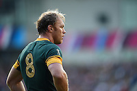 Schalk Burger of South Africa looks on during a break in play. Rugby World Cup Pool B match between South Africa and Japan on September 19, 2015 at the Brighton Community Stadium in Brighton, England. Photo by: Patrick Khachfe / Onside Images
