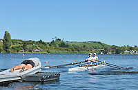 Hamilton, NEW ZEALAND. GBR LM2X. Bow Zac PURCASE and Mark HUNTER move away from the start in the Men's Lightweight Double Sculls.  2010 World Rowing Championship on Lake Karapiro Sunday  31/10/2010. [Mandatory Credit Peter Spurrier:Intersport Images].