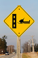 Snowmobiles Crossing Highway Traffic Sign