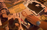Photographs of noted Argentine writer Jorge Luis Borges are sorted among others of Argentines Ernesto &quot;Che&quot; Guevara and Eva Peron among others in a small antiques market in Buenos Aires. The magic realist author influenced the work of many of the western hemisphere's greatest writers.<br />